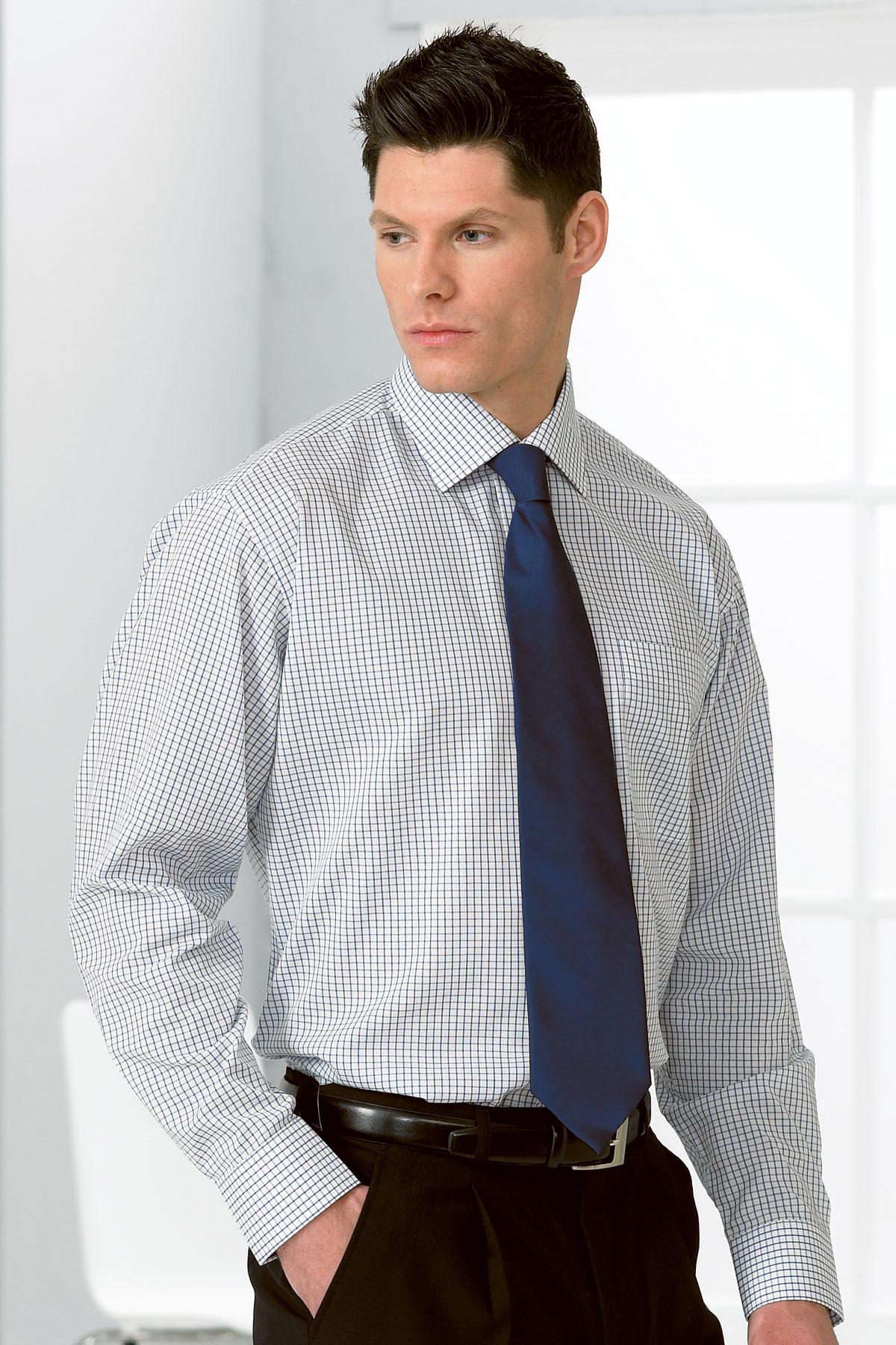 Disley Business Check Cutaway Collar Long Sleeve Shirts