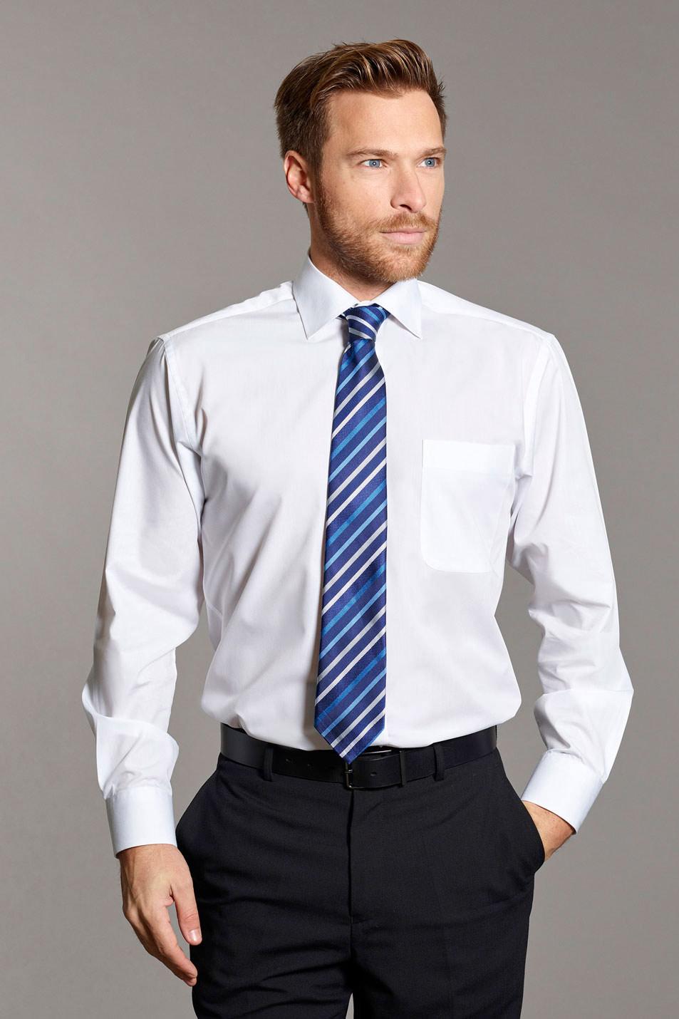 Disley Cutaway Collar Long Sleeve Shirt In Easycare Fabric