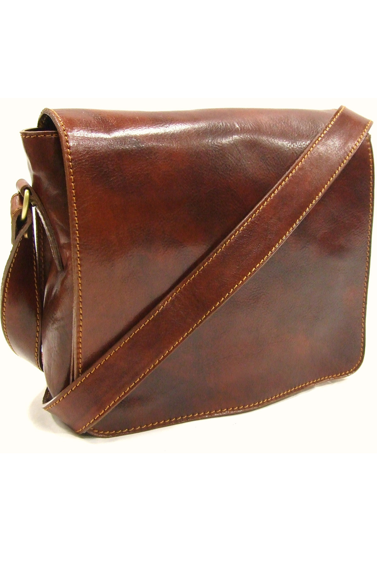 Italian Leather Messenger Bag by Woodland Leather
