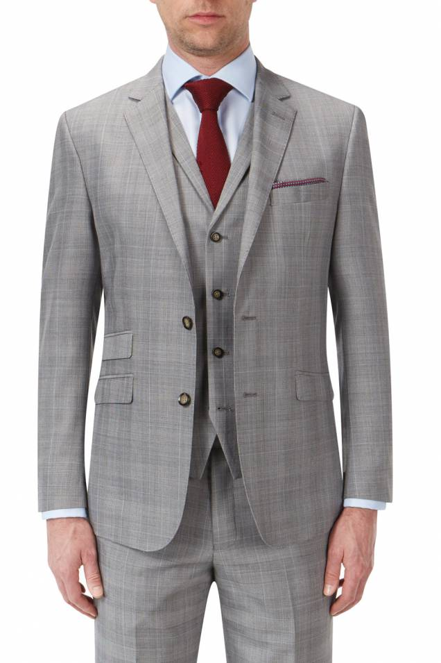 Aintree Light Grey Check Suit 2 or 3 piece.