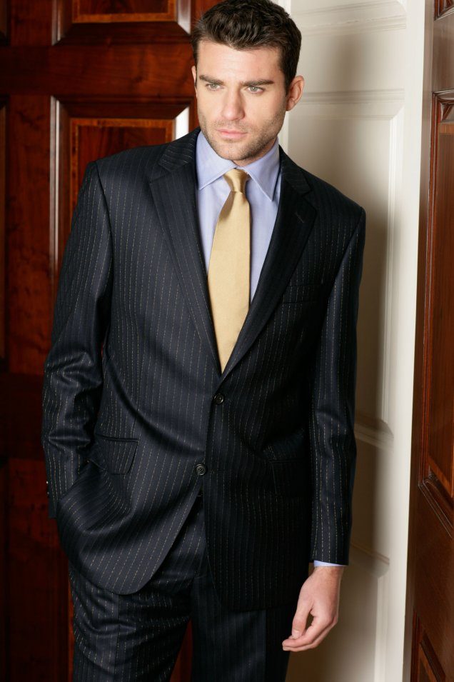 outlet store sale complete range of articles enjoy clearance price Magnificent Navy with Gold or Platinum Pinstripe Suit