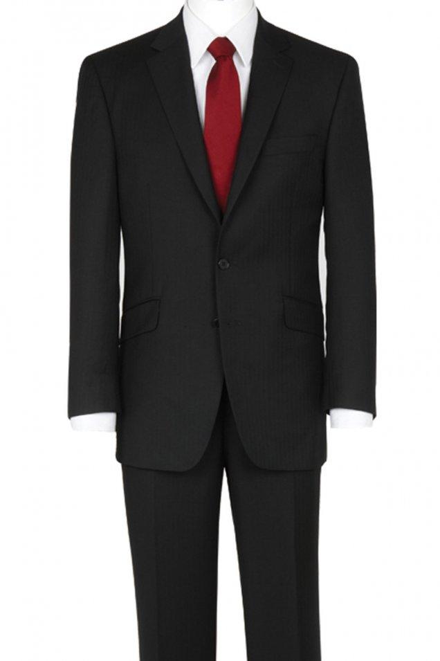 The Label Plain Black Herringbone Suit