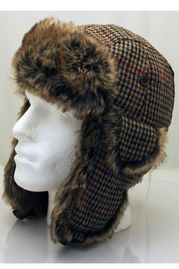 e6ac2370883 Wool Mix Dog tooth Trapper Hat with Faux Fur from Sophos