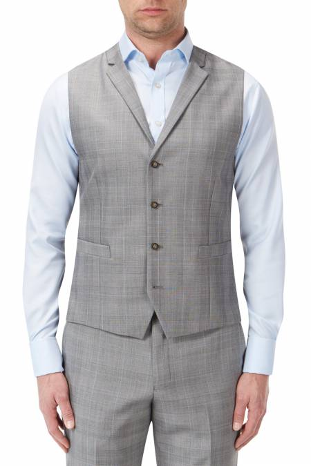 Aintree Tailored Light Grey Check Waistcoat