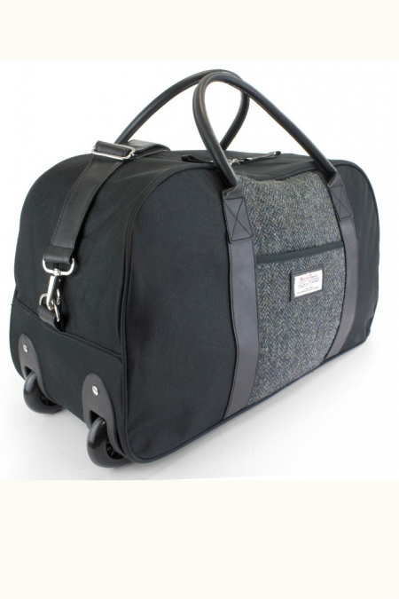 Black and Grey Harris Tweed Wheelie Holdall