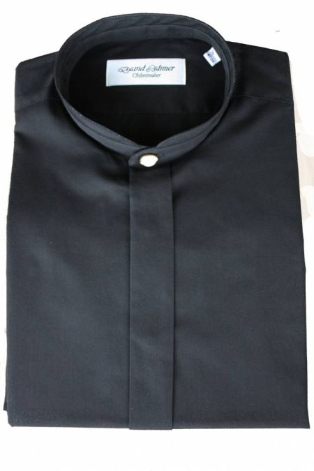 Black Mandarin Collar David Latimer Dress Shirt