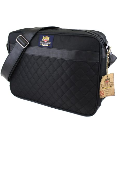 Black Quilted Briefcase/College bag/ Satchel