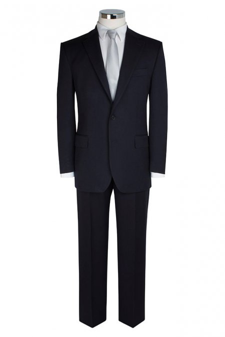 Blue Self Stripe Single Breasted Suit Jacket