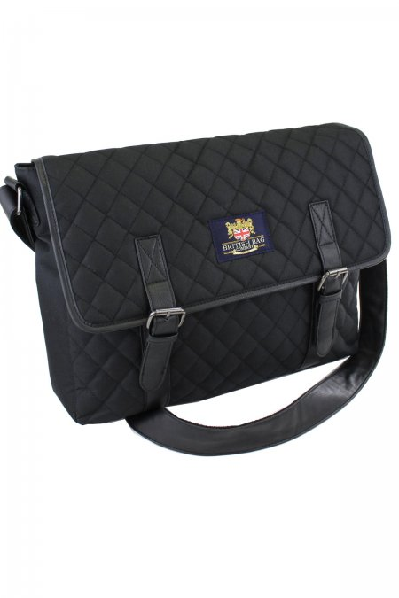 Black Quilted Messenger Bag
