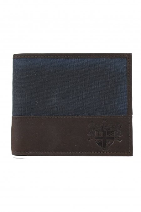 Waxed Cotton Navy Wallet