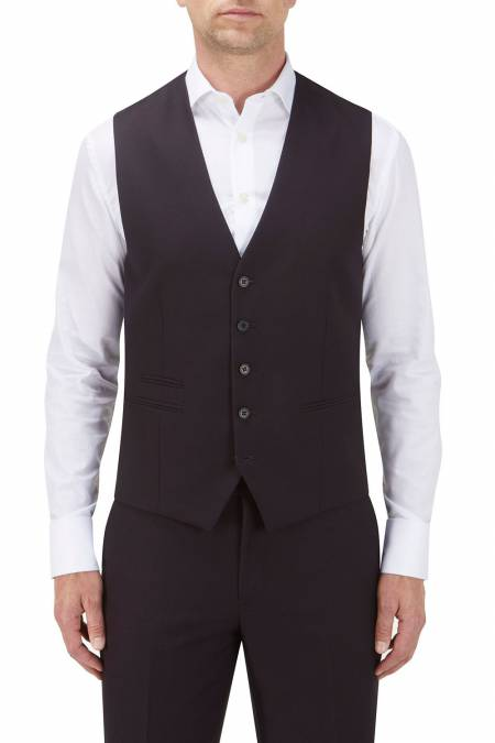Bruno Suit Waistcoat in Wine Self Pattern Fabric.