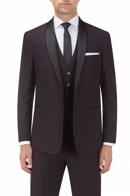Bruno Wine Dinner Suit Jacket with Satin Shawl Collar