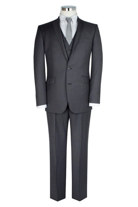 Charcoal Sharkskin Single Breasted Tailored Jacket