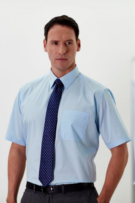 Classic Double Two short sleeved plain cotton blend shirt in  blue or white