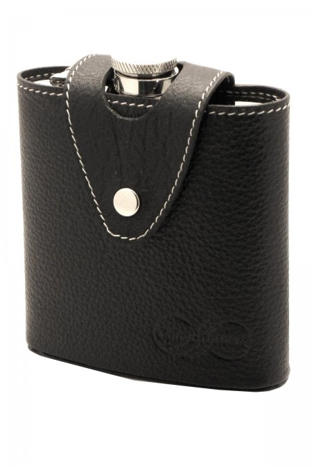 Silver Hip Flask in Leather Holder