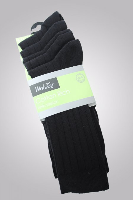 Cotton 5 Pair Pack Rib Socks