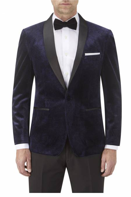 Dinner Jacket in Navy Paisley with Satin Shawl Collar