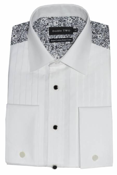 Double Cuff Dress Shirt with Grey and White floral back and sleeves