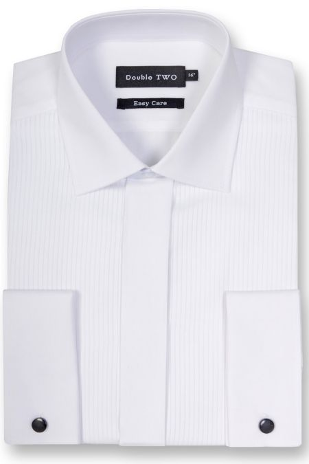 Double Cuff Standard Collar Ribbed Pique Dress Shirt
