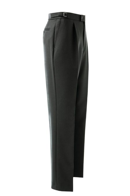 Formal Pleated Herringbone Trouser