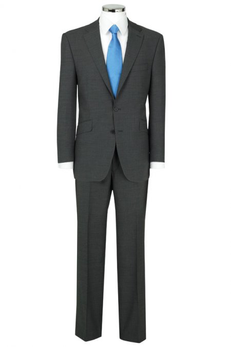 Grey Herringbone Single Breasted Suit Jacket