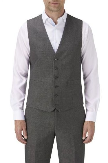 Harcourt Tweed effect Scoop 4 button waistcoat