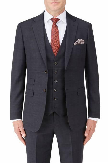 Hayling Suit in Navy Check Wool Blend