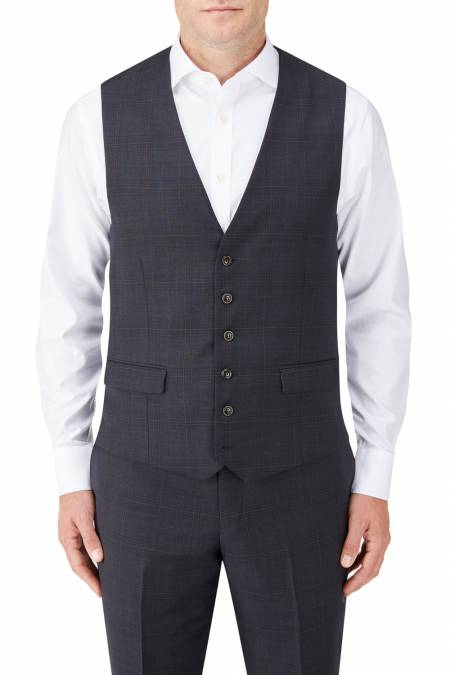 Hayling Suit Waistcoat in Navy Check