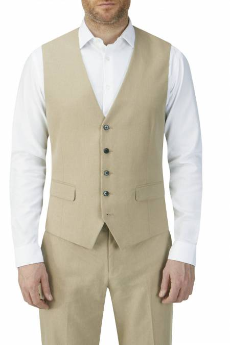 Heritage Collection Morant Linen Blend Suit Waistcoat in Stone.