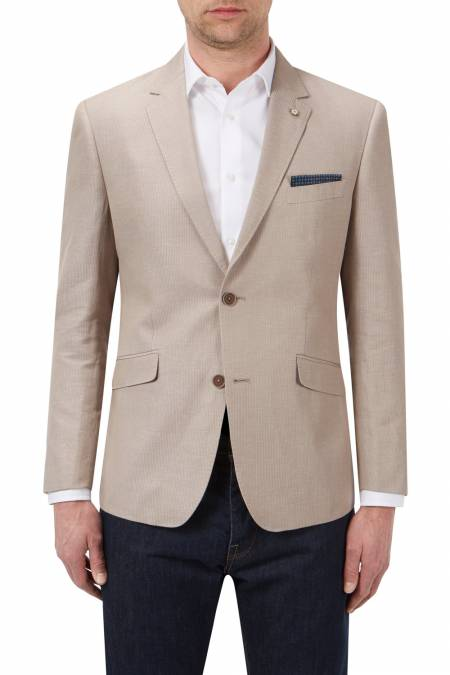 Heritage Collection Tailored Fit Leon Linen / Cotton Blend Stripe Blazer