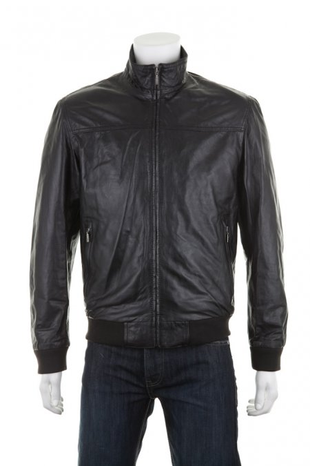 High Collar Leather Zip Jacket