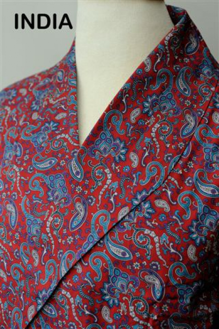 India Red Paisley Lightweight Dressing Gown