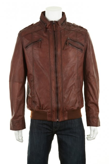 Leather Biker Bomber Jacket