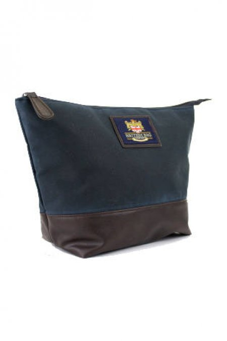 Millerain Waxed Navy Washbag