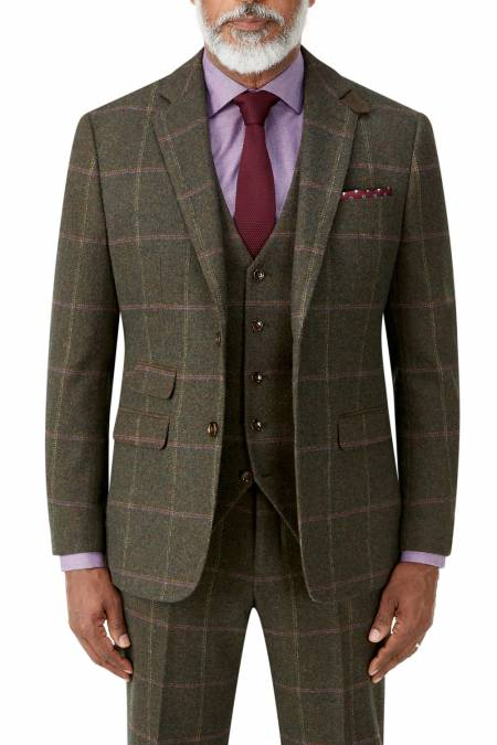 Morfe Suit Jacket in Lovat Check