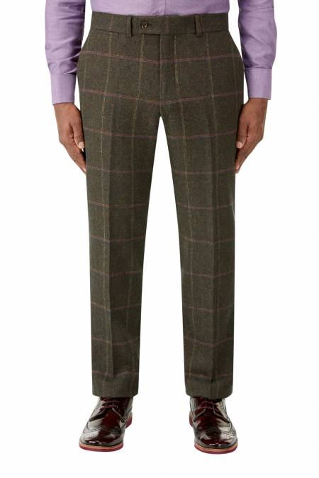 Morfe Suit Trousers in Lovat Check