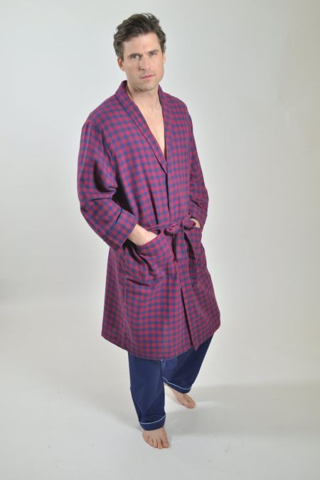 Navy with red check brushed dressing gown