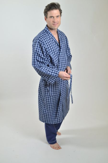 Navy with white check dressing gown