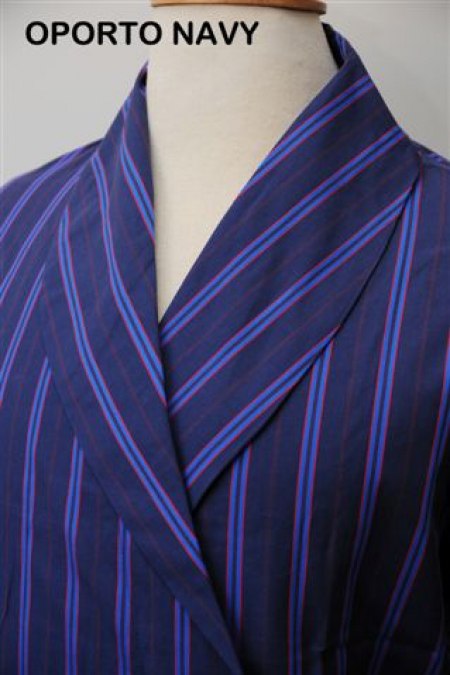 Opera Navy 100% cotton satin Lightweight Dressing Gown