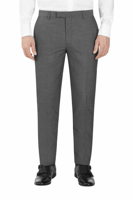 Orte Grey Black Textured Suit Slim Trouser