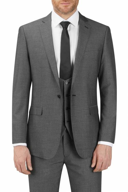 Orte Suit Jacket in Grey Black Textured fabric