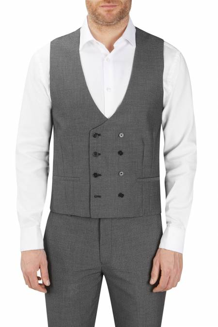 Orte Textured Suit Double Breasted Waistcoat