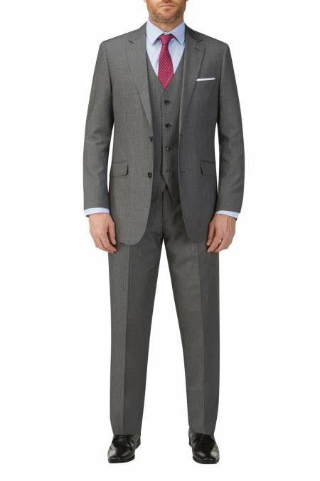 Pedley Suit in Grey Hairline Stripe