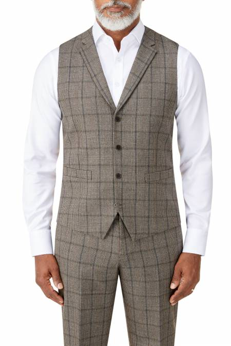 Pershore Suit Waistcoat with Lapels in Brown Check