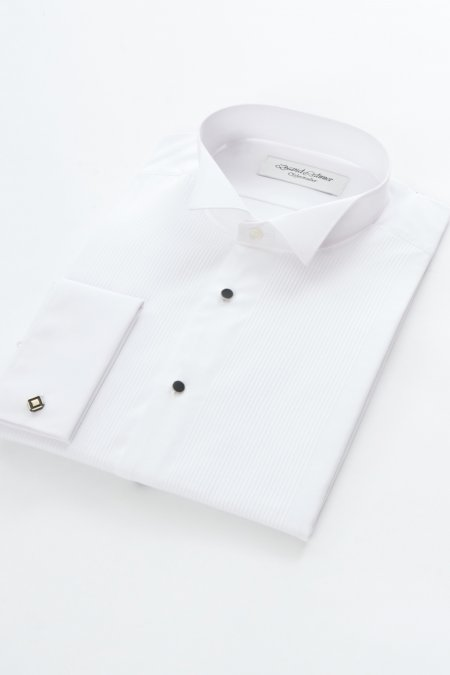 Pleated Dress Shirt Wing Collar