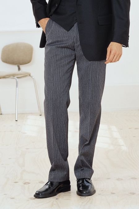 Pleated Striped Formal Trousers