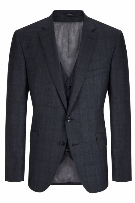 Romelo Navy Check Suit Jacket