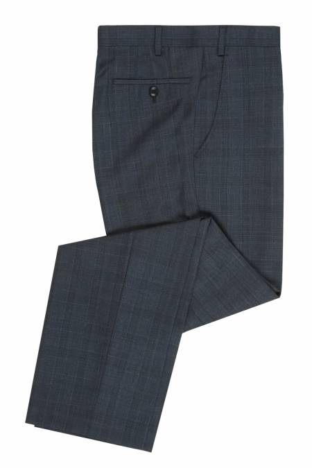 Romelo Navy Check Suit Trousers