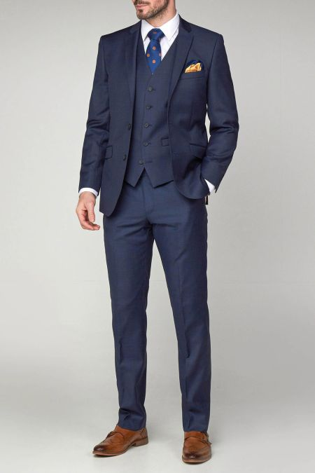 Scott Ink Blue Sharkskin Contemporary Suit