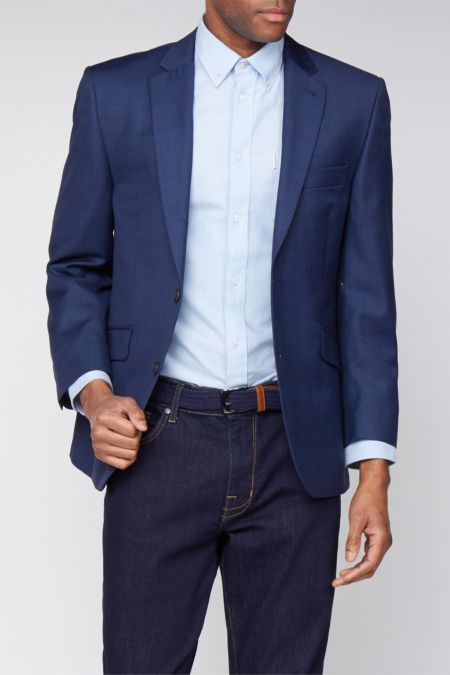 Scott Ink Blue Sharkskin Premier Suit - business suits for men